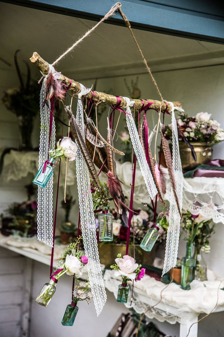 Rustic Lace & Feather Hanging Decor | Rembo Wedding Dresses | Bohemian Outdoor Wedding | Inspiration Shoot | The Letchworth Centre | Styling From Fleur De Lace Weddings And Events | Flowers By Pots In Bloom | Images by Hayley Pettit Photography | http://www.rockmywedding.co.uk/ethereal-woodland-wedding-inspiration/