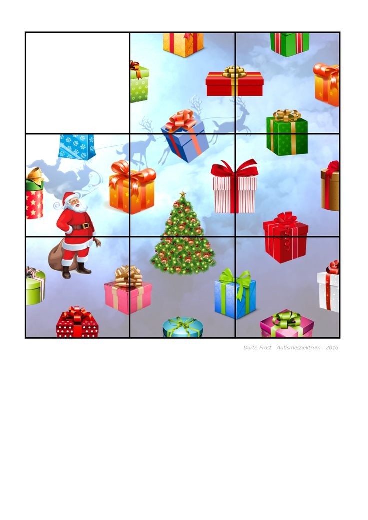 Tiles for the Christmas puzzle. Find the belonging board on Autismespektrum on Pinterest. By Autismespektrum