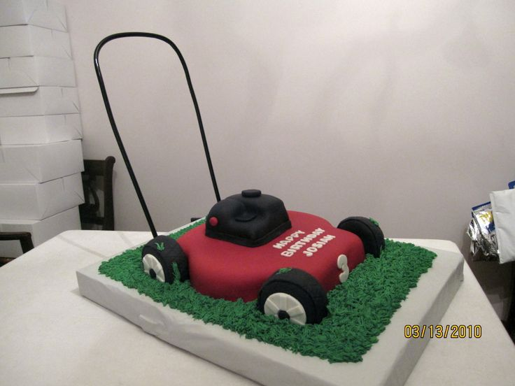 Push Lawn Mower Birthday Cake - Made for a friends little boy who LOVES lawn mowers. All edible except for the pvc handle. All fondant with buttercream grass.