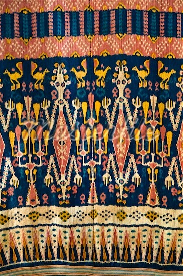 Warp Ikat Hinggi from Sumba,Indonesia (Back strap Loomed - Hand Dyed)