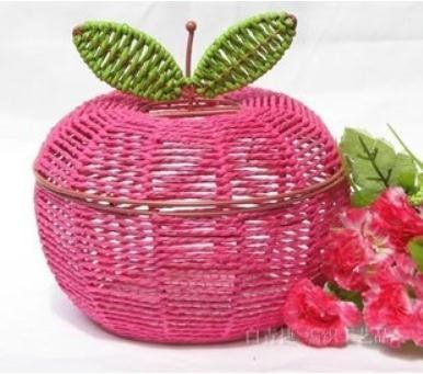 DIY Apple Rattan woven wicker willow home storage boxes bins food container organizer case baskets decoration $28.42