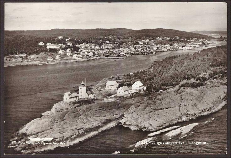 Telemark fylke Bamble kommune Langøytangen fyr - Langesund. Utg Widerøe Brukt 1955.