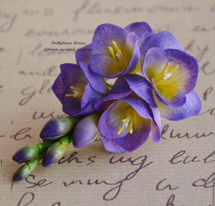 Купить Фиолетовая фрезия (заколка-зажим) - фиолетовый, фрезия, фрезия на зажиме, заколка с фрезией