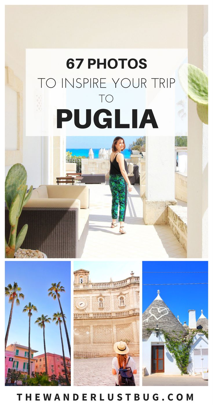From beautiful whitewashed towns and rustic farmland to palm trees and its gorgeous coast line, Puglia really is one of the most undiscovered regions of Italy. Click for 67 photos that will make you want to travel there right now. featuring Ostuni, Martina, Alberobello, Cisternino, Monopoli & Polignano a Mare. Trulli & Canne Bianche also. ❤️