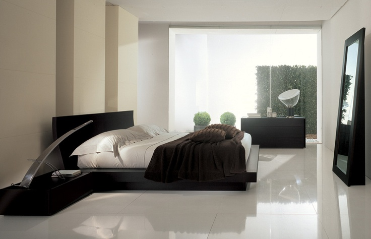 CONCA - Bed in dark oak.  Curved headboard  and big thickness - http://www.fimarmobili.com