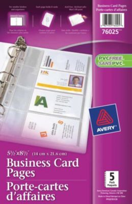 Staples®. has the Avery® 5-1/2'' x 8-1/2'' Business Card Holder Pages you need for home office or business. Shop our great selection, read product reviews and receive FREE delivery on all orders over $45.