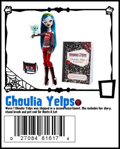 Wave 1 Ghoulia includes doll, stand, brush, diary and pet Sir Whoots A Lot