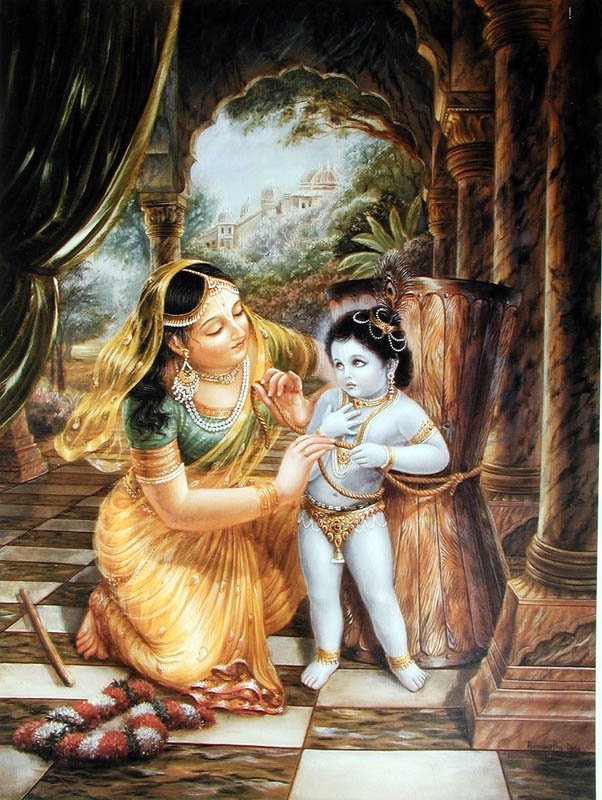 Mother Yasoda was thinking of Krsna as her child. Although He is beyond the reach of all senses, she endeavored to bind Him up to a wooden grinding mortar. But when she tried to bind Him, she found that the rope she was using was too short--by two inches. Mother Yasoda was smiling, but she was astonished. How was it happening?