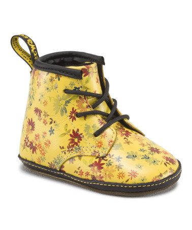 Sun Yellow Floral Bootie - Kids by Dr. Kids BootsLeather ...
