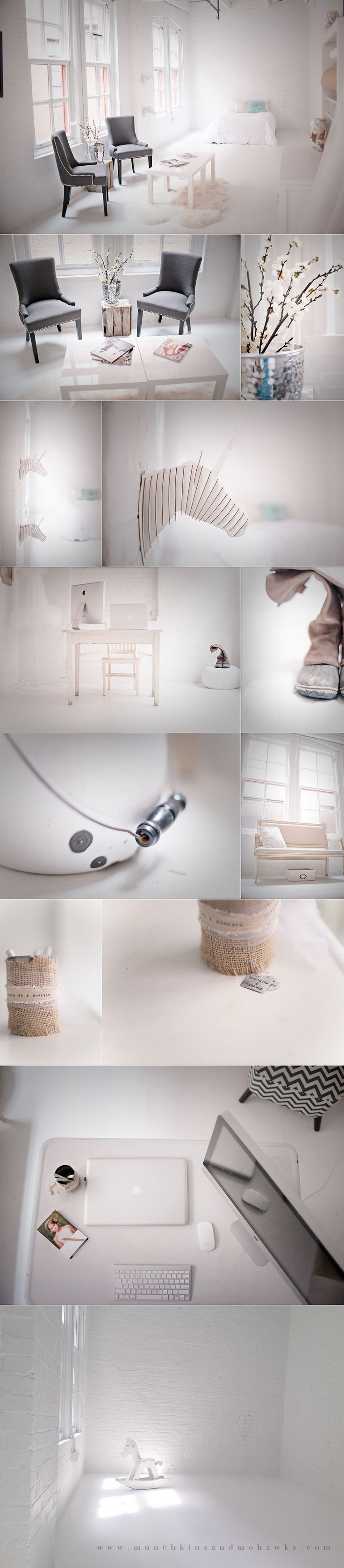 love this for a photography studio/workspace. all white with muted tones for decor, allowing the subject to shine!...a girl can dream right