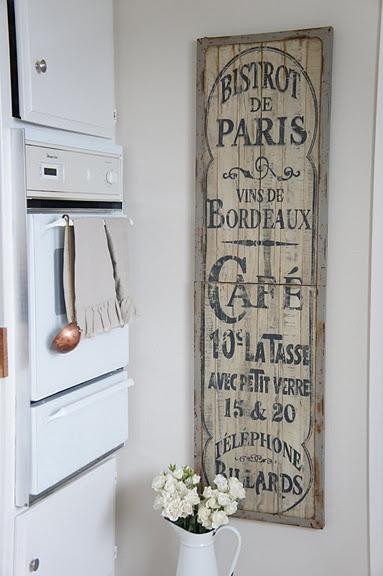 Cafe Sign - old shutter repurposed & framed in metal