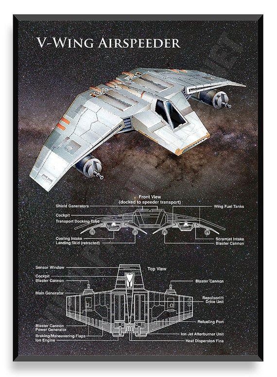 V-Wing nave de Star Wars Star Wars Poster por PatentPrintsPosters