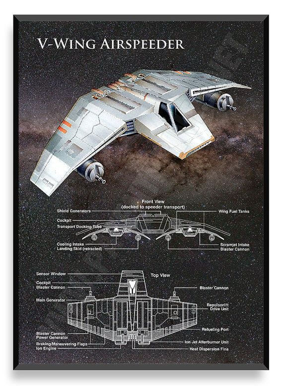 V-Wing Poster Star Wars Ship Star Wars by PatentPrintsPosters                                                                                                                                                                                 More