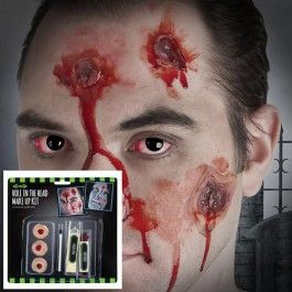 Part of our vast range of Halloween make-up and accessories.  The kit contains  fake 'holes' to be temporarily glued on to the face plus cream make up and      applicators.  Perfect for creating a scrary Halloween look…
