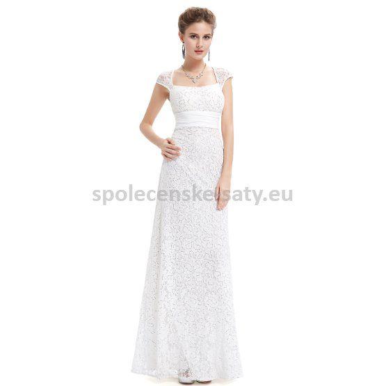 Bílé dlouhé společenské svatební šaty krajkové s mini rukávkem 42 XL