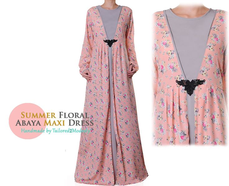 Pink Summer Floral Long Sleeves Abaya Maxi Dress Size S/M/L or XL/1X (6013/2866) FREE SHIPPING! by Tailored2Modesty on Etsy