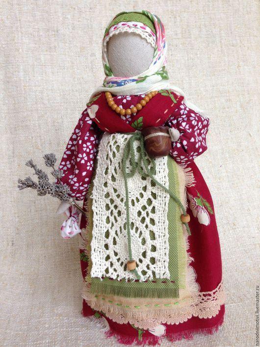 Народные куклы ручной работы, Купить куклу Берегиня дома, куклы обереги, оберег для дома, оберег для семьи, русский стиль, авторская кукла, бордовый, зеленый, бежевый