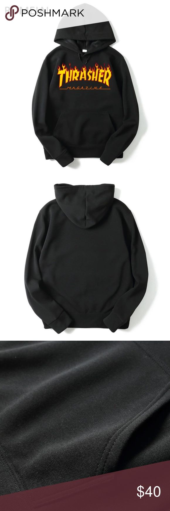 Thrasher hoodie sweatshirt UNISEX Brand new! Ordered the wrong size, so getting another one. Not the real thing but I don't see a difference :). UNISEX. supreme Sweaters