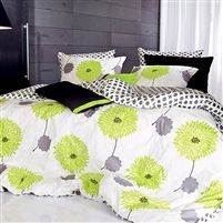 Lime Green Floral Duvet Cover Set