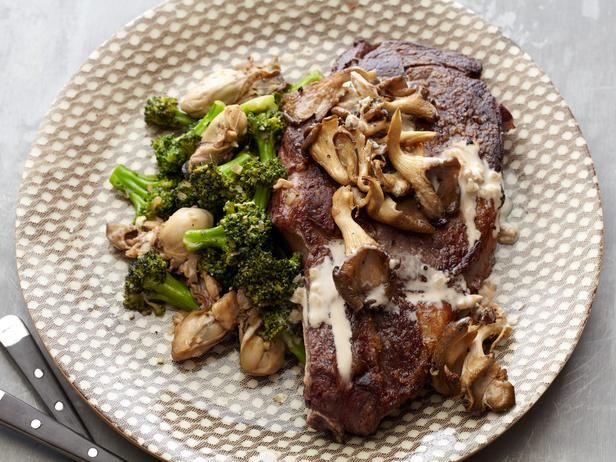 Grilled Rib Eyes with Sauteed Broccoli and Oysters #recipe