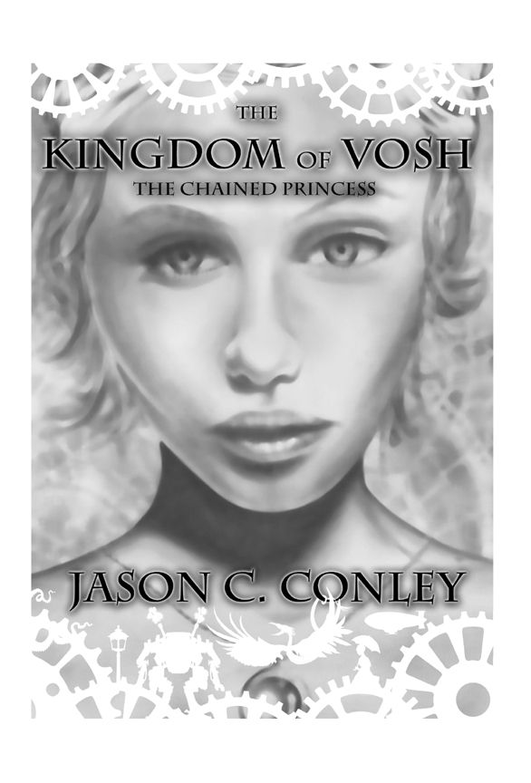 Cover of my own book, The Kingdom of Vosh.  This is hand drawn, pencil with airbrush, plus digital work around the border and white characters below.