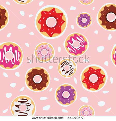 seamless donuts pattern with pink background vector design