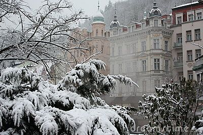 A winter image of Karlovy Vary, Czech Republic. The fog is actually the vapour produced by hot springs.