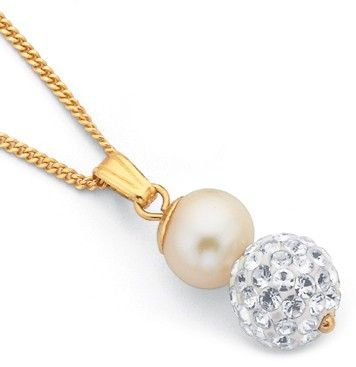 9ct Crystal & Freshwater Pearl Pendant