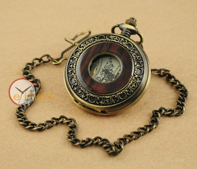 2015 New Vintage Wood Grain Hollow Self winding FOB Mechanical Pocket Watch Steampunk Skeleton Back With Chain Men Women - Online Shopping for Watches