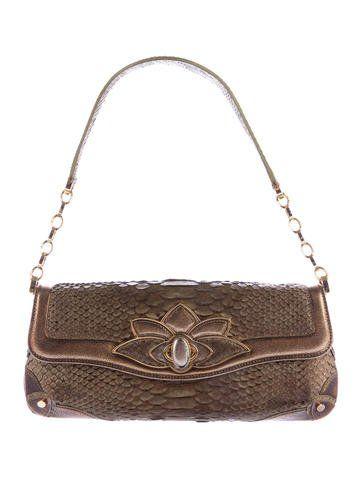 3bc811041f56 Judith Leiber Python Lotus Handle Bag