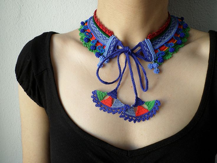 Beaded crochet fiber necklace - with cornflower blue, indigo, lime green and crimson red beads by irregularexpressions | Flickr - Photo Sharing!