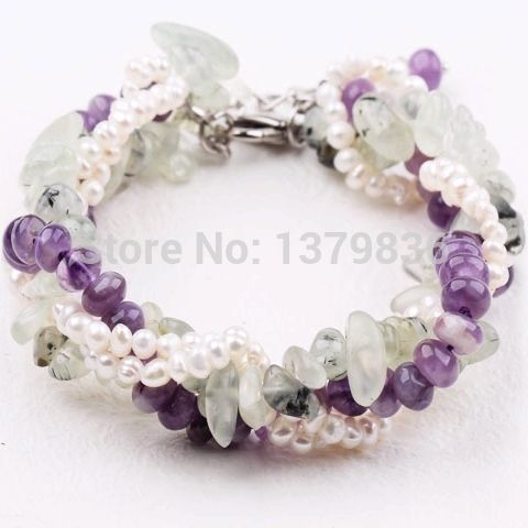 Aliexpress.com : Buy Amazing Design Multi Twisted Strands White Pearl Green Prehnite and Purple Amethyst Bracelet from Reliable amethyst photos suppliers on Lucky Fox Jewelry
