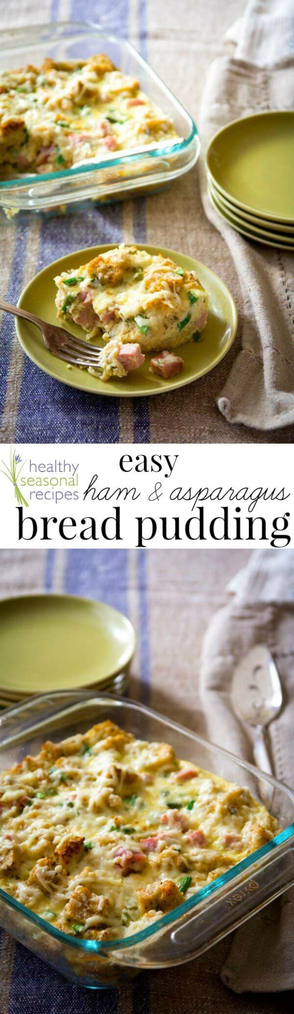 Blog post at Healthy Seasonal Recipes : Easy savory bread pudding with fresh asparagus, smoked ham and cheddar for an easy dinner or Easter Brunch.        I wanted to share this re[..]