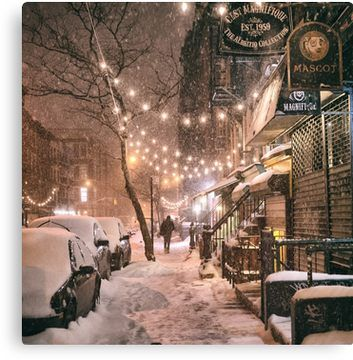 East Village in the Snow – New York City Canvas Print