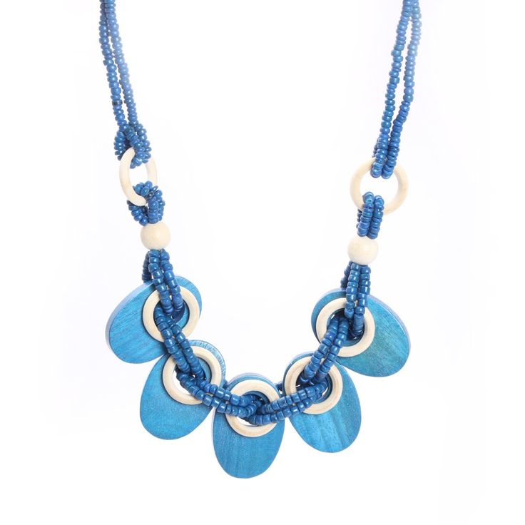 Get under the spotlight with this amazing and antique piece of artificial wooden jewelry. Add a glam to your look with this beautiful necklace made of wooden beads and flattened oval rings. This is truly a wow piece which suits well all your attires and gives you a perfect chic look. So, what are you waiting for? Place your order now!!!  Visit for buy this Lavish Blue Necklace:- http://khoobsurati.com/khoobsurati/lavish-blue-wooden-necklace-khoobsurati