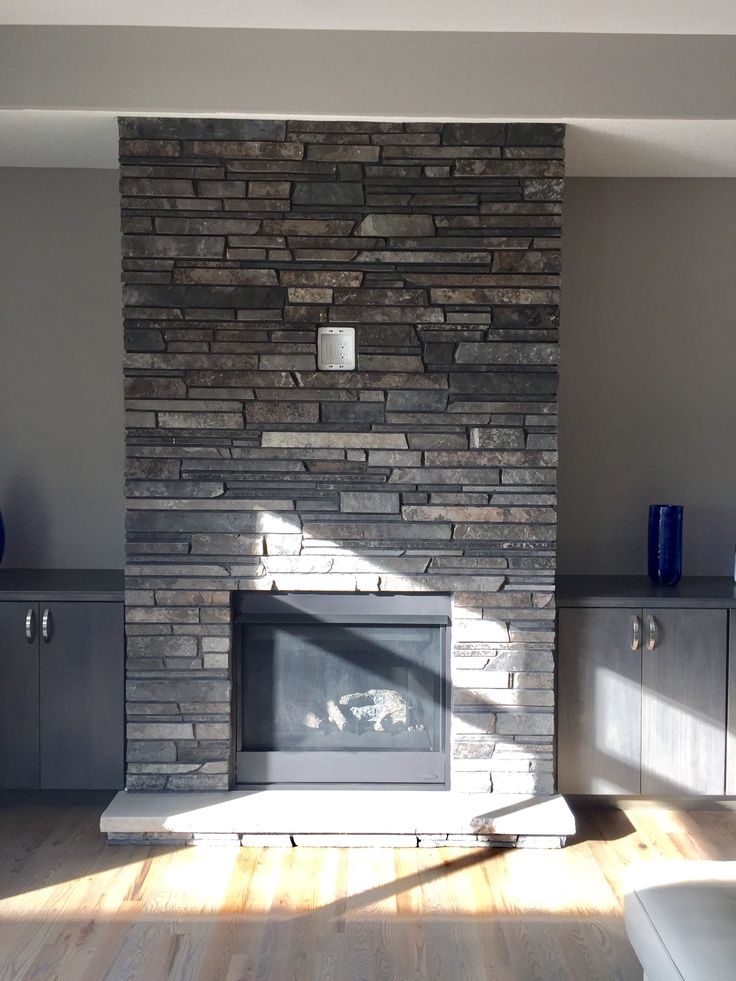 Gray And Brown Dry Stacked Stone Fireplace In 2019 Stone