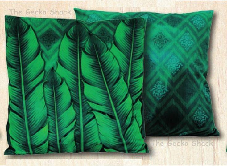 The Gecko Shack - Earthing 45cm Royal Velvet Cushion rainforest Leaves Collection by Lisa Pollock, $34.95 (http://www.geckoshack.com.au/earthing-45cm-royal-velvet-cushion-rainforest-leaves-collection-by-lisa-pollock/)
