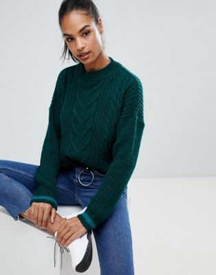57061ade590c6 Shop Boohoo cable knit sweater in green at ASOS. Discover fashion online.
