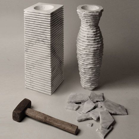 A marble vase smashed and shaped with a hammer //admired by http://www.truelatvia.com