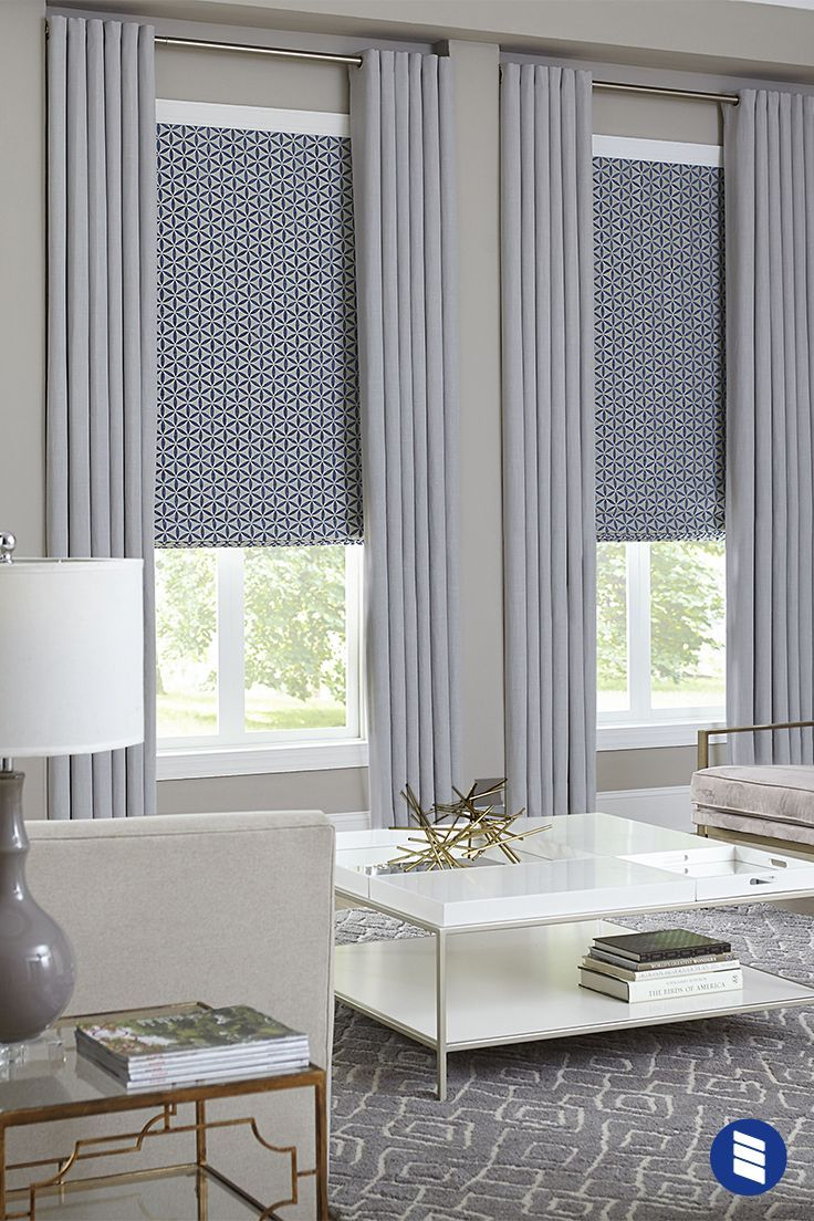 Windows Get A Finished Look With Layered Roman Shades And Draperies Window Treatments Living Room Living Room Blinds Curtains Living Room