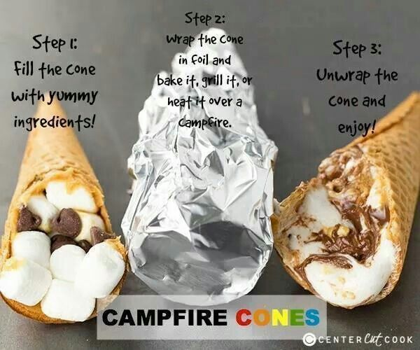 Smores in a waffle cone, stuffed with marshmallows, and chocolate. Then wrapped in foil, put on grill, over campfire, or in the oven!! Yummmmy!!