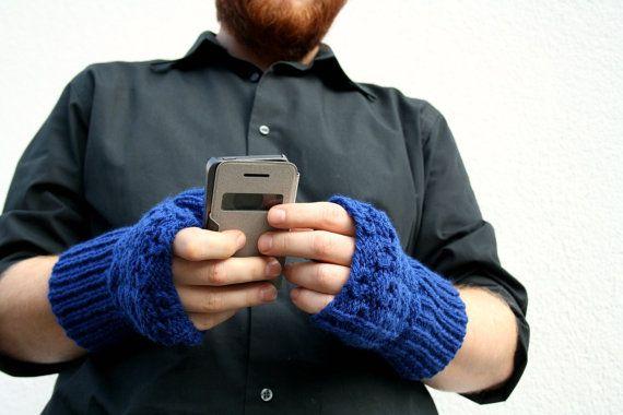 Blue Fingerless Gloves Long Gloves Men's Gloves Hand by PolClary