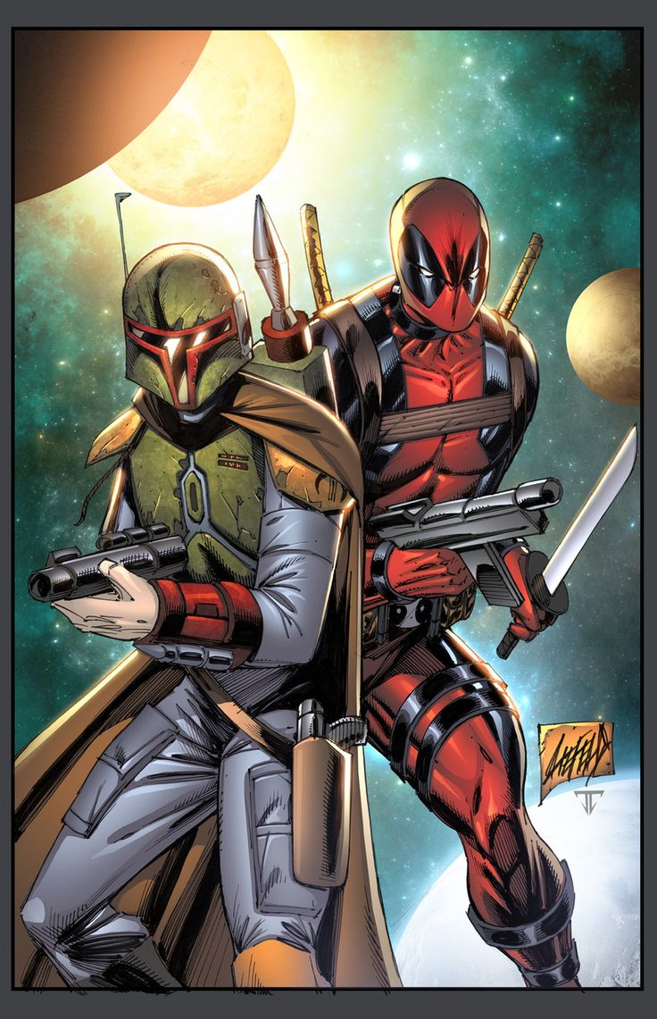 Boba Fett and Deadpool by Rob Liefield, colour by juan7fernandez.deviantart.com on @deviantART