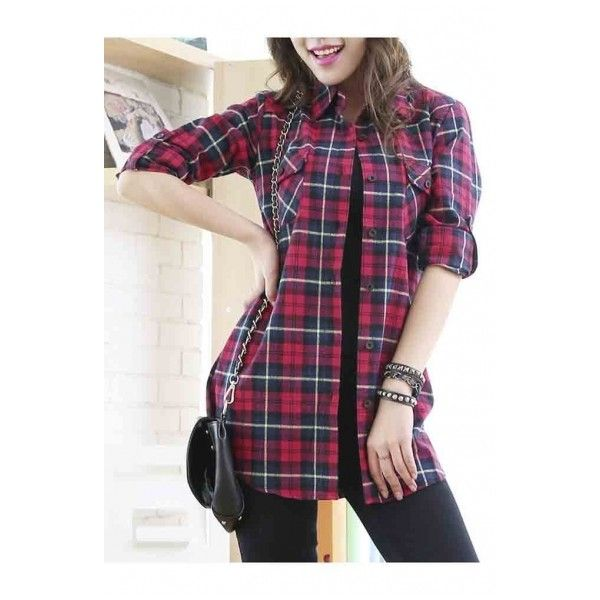 Women's Mid-Long Style Roll-Up Sleeve Plaid Shirt (1,510 PHP) ❤ liked on Polyvore featuring tops, purple plaid shirt, pocket shirts, tartan shirt, long tops and roll sleeve shirt