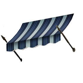 Awntech 88.5-In Wide X 16-In Projection Navy/Gray/White Stripe Open Slope Window/Door Awning No21-7Nw