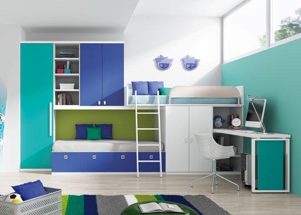 Mejores 164 im genes de dormitorios juveniles acabado azul - Tres camas en habitacion pequena ...