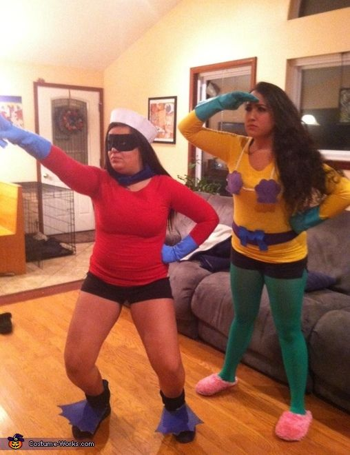 Mermaid Man and Barnacle Boy - DIY Halloween Costumes. I love the mermaid man costume!! That's hilarious!! I think I'd even whiten my hair for it!!