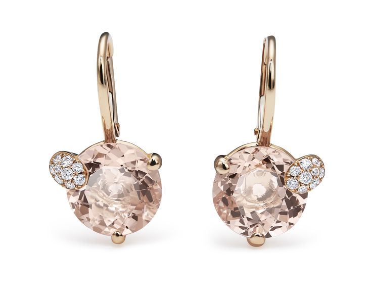 Earrings - 18K rose gold, 2 morganites round cut total 6.5 ct., 18 diamonds brilliant cut total 0.13 ct  #Bucherer #Peekaboo #finejewellery