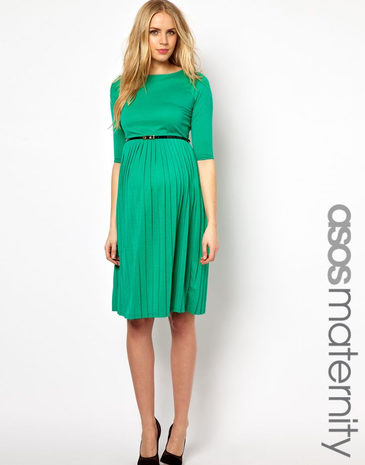 Jade Green Maternity Midi Dress With Pleated Skirt