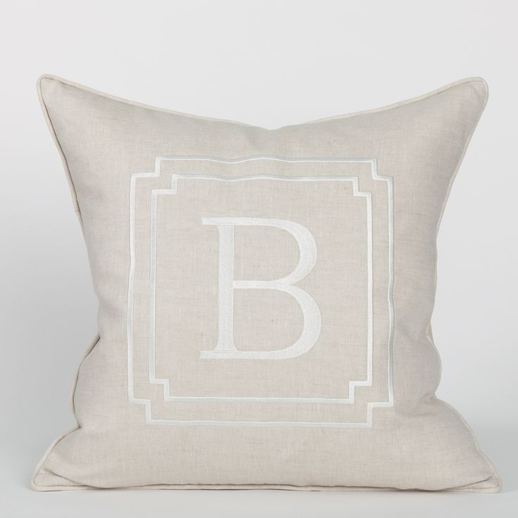 Monogram Pillow in Flax | Coastal Style Gifts